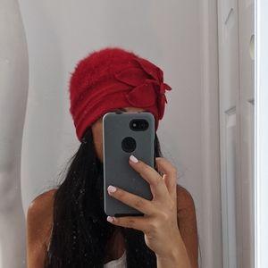 Red wool angora hat